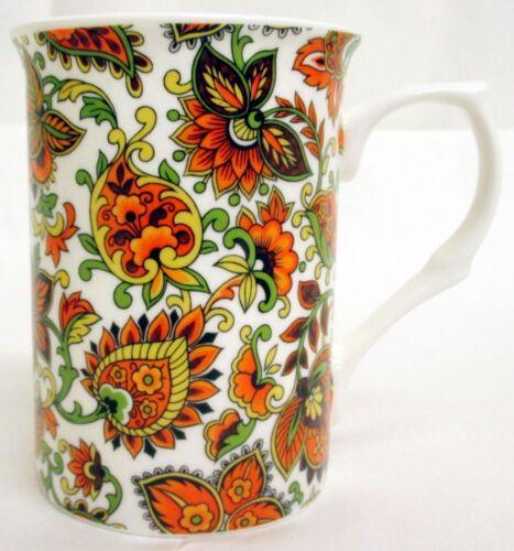 Paisley tasses set de 4 porcelaine fine orange Paisley mugs hand decorated in UK