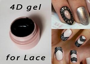 4d 3d Uv Black Plastiline Sculpture Lace Gel Nail Art Ebay