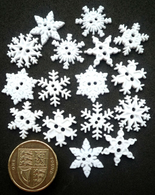 SEW THRU SNOWFLAKES Craft Buttons 1ST CLASS PP Snow Flake White Winter Christmas