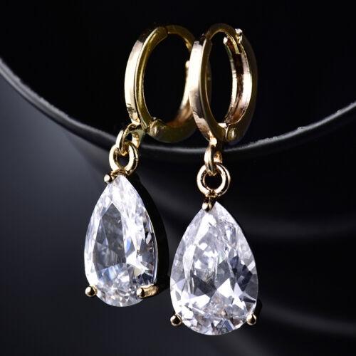 Dangle Poire Diamant Clair Sapphire 18K Gold Filled Women Lady Drop Boucles D/'oreilles Créoles