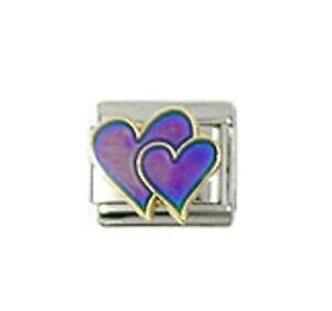 Italian-Charm-Double-Love-Heart-Mood-Changes-Colour-Fits-Classic-Size-Bracelet