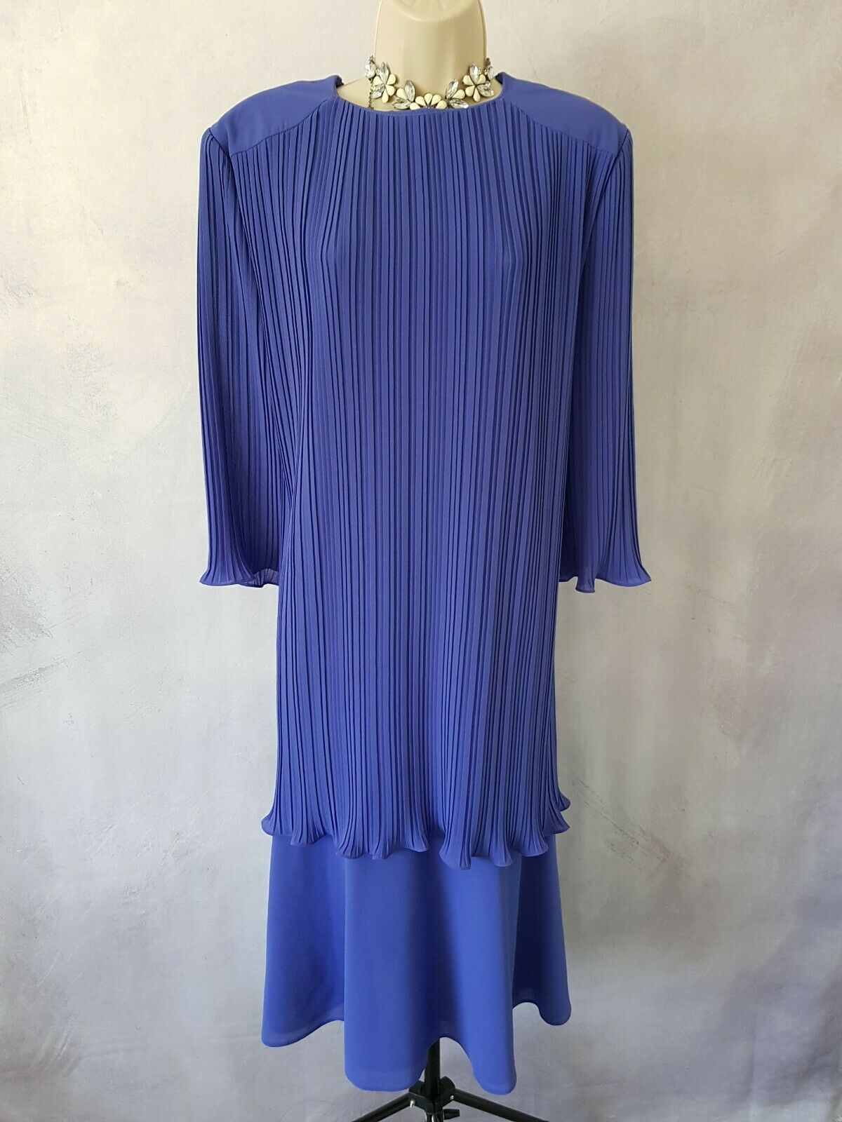 Helenel Mother of The Bride Dress Purple Padded Wedding Occasion Size UK 18