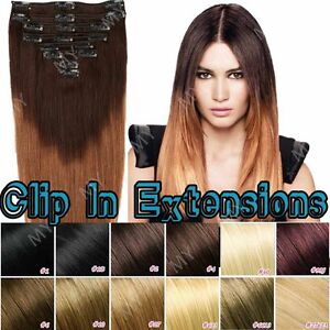 Ombre-Double-Weft-Clip-In-100-Real-Remy-Human-Hair-Extensions-Full-Head-BS115