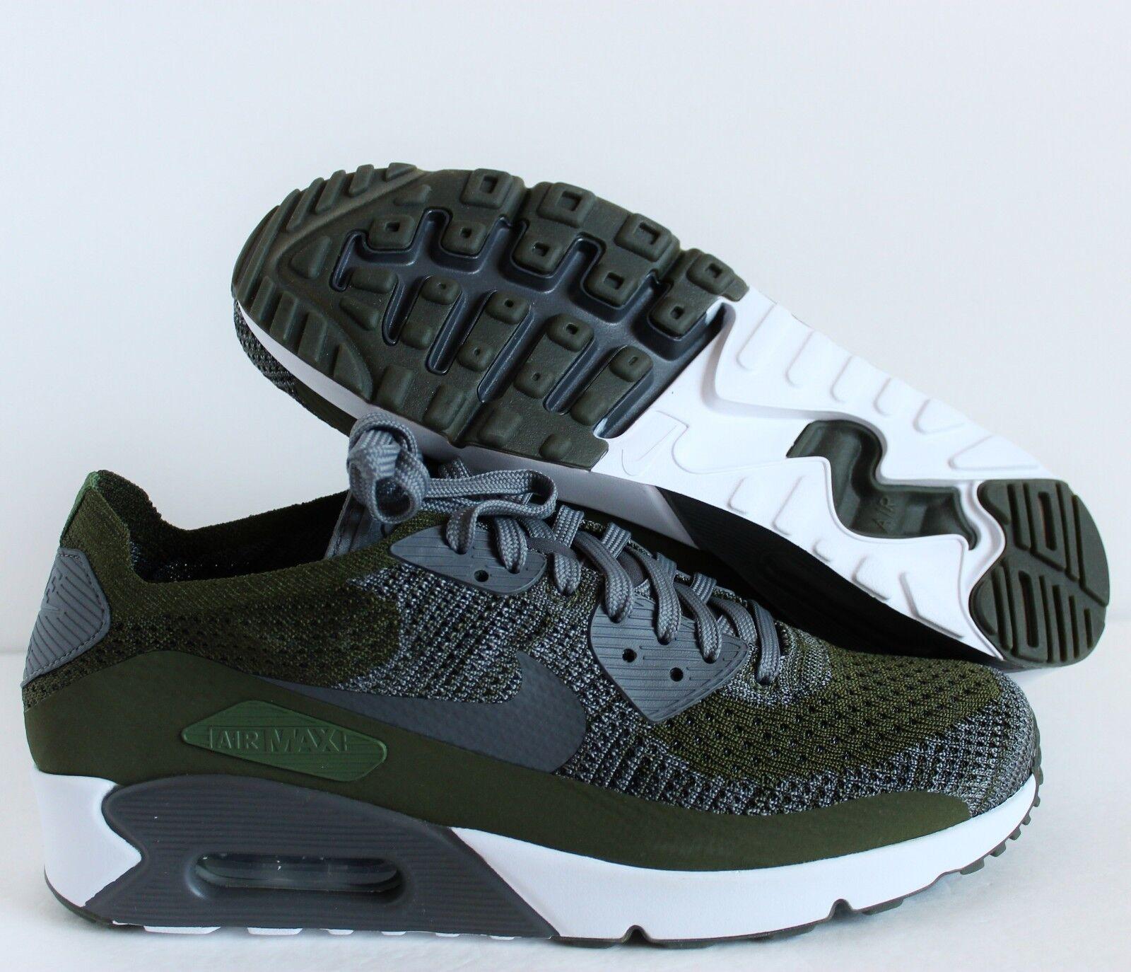 Nike air max 90 ultra - 2,0 flyknit [875943-300] dura green-grey-white sz 11 [875943-300] flyknit 497ee3
