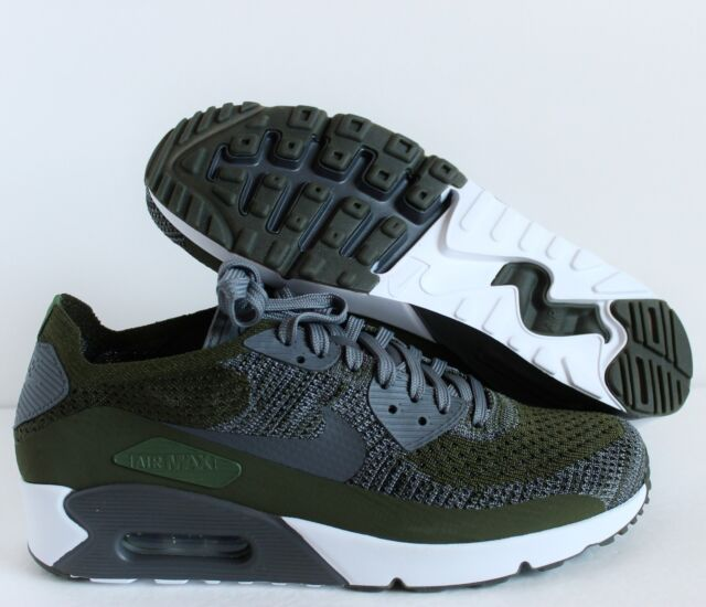 reputable site ce08a bd823 Nike Air Max 90 Ultra 2.0 Flyknit Mens 875943-300 Rough Green Shoes Size 11