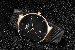 New-Men-s-North-Black-amp-Gold-Color-Luxury-Dress-Watch