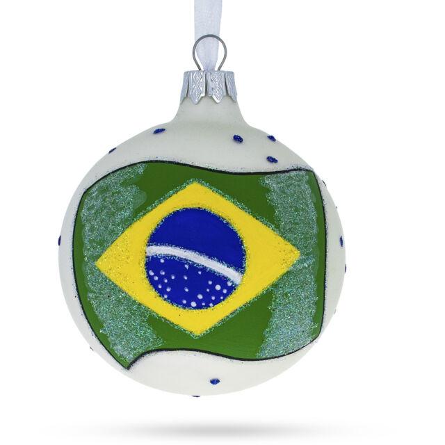Flag of Brazil Glass Ball Christmas Ornament | eBay