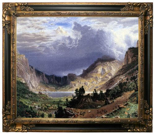 Bierstadt Storm in the Rocky Mountains Framed Canvas Print Repro 20x24