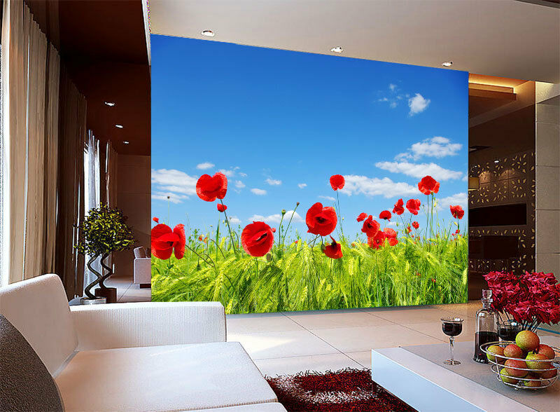 3D Flower rot Poppies  Sky Full Wall Mural Photo Wallpaper Print Paper Home Deco