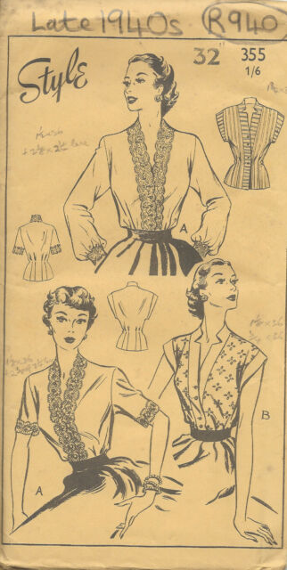 1950s Vintage Sewing Pattern B32 BLOUSE (R940)