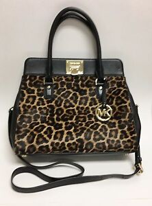 Image Is Loading New Michael Kors Astrid Black Leather Leopard Print