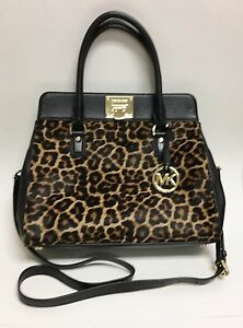 43b81c760ba5 NEW MICHAEL KORS ASTRID BLACK LEATHER+LEOPARD PRINT CALF HAIR TOTE ...