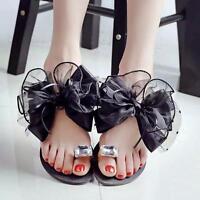 Womens Summer Sandals Sweet Flower Bowknot Flat Beach Open Toe Sandals New Shoes