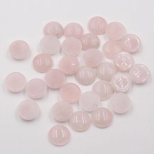 Al por mayor 30 un Natural Rosa Cuarzo ronda granos de piedra de cabujón de cabina 16x16mm