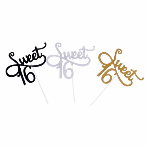 2x Sweet 16 Girls Anniversaire Gâteau Topper Support gold paillettes Cupcake decoracrh