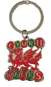 Wales-Cymru-Dragon-St-Davids-Chrome-Plated-And-Enamel-Key-Ring-Souvenir