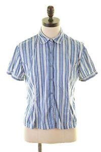GANT-Womens-Shirt-Short-Sleeve-UK-12-Medium-Blue-Striped-Cotton-AV04