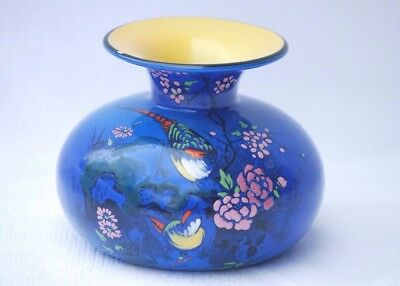 Vintage Shelley Art Deco Vase Blue with Enameled Decoration - Birds