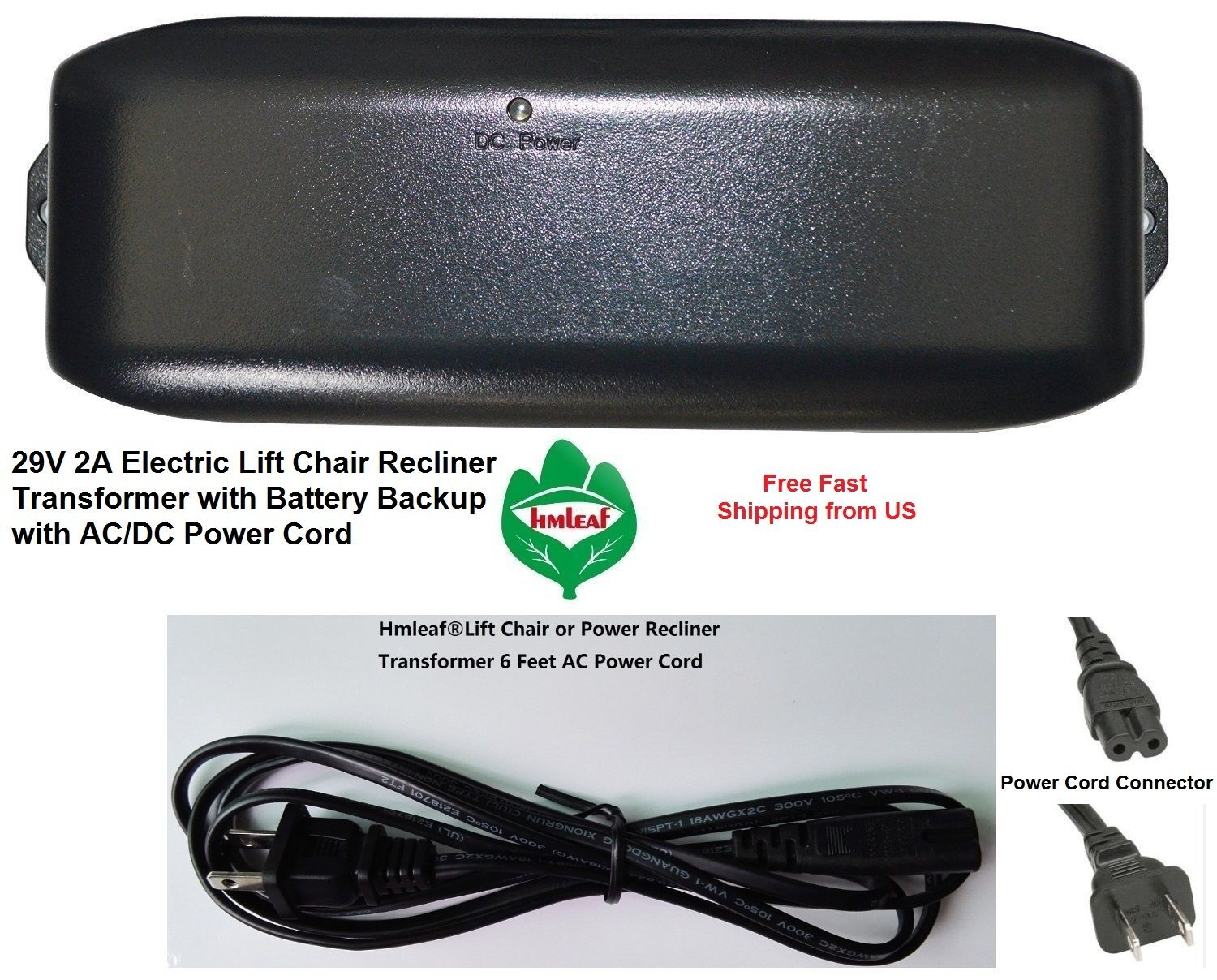 Replacement Lift Chair Recliner AC//DC Power Supply Transformer Battery FCC Value