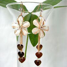 Navachi Heart Flower 18K GP Crystal White Acetate Dangle Drop Earrings BH1008