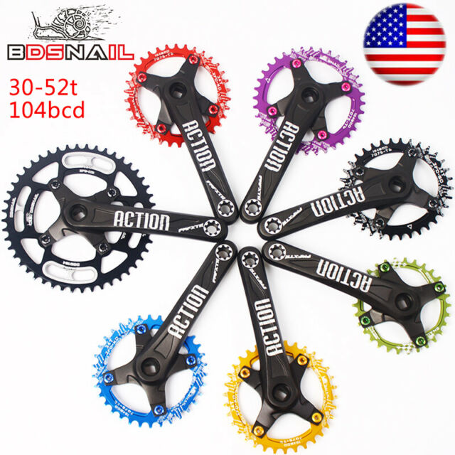 Crankset 30-52T 104BCD Crank 170mm Narrow Wide Chainring MTB Bike Chainwheel CNC