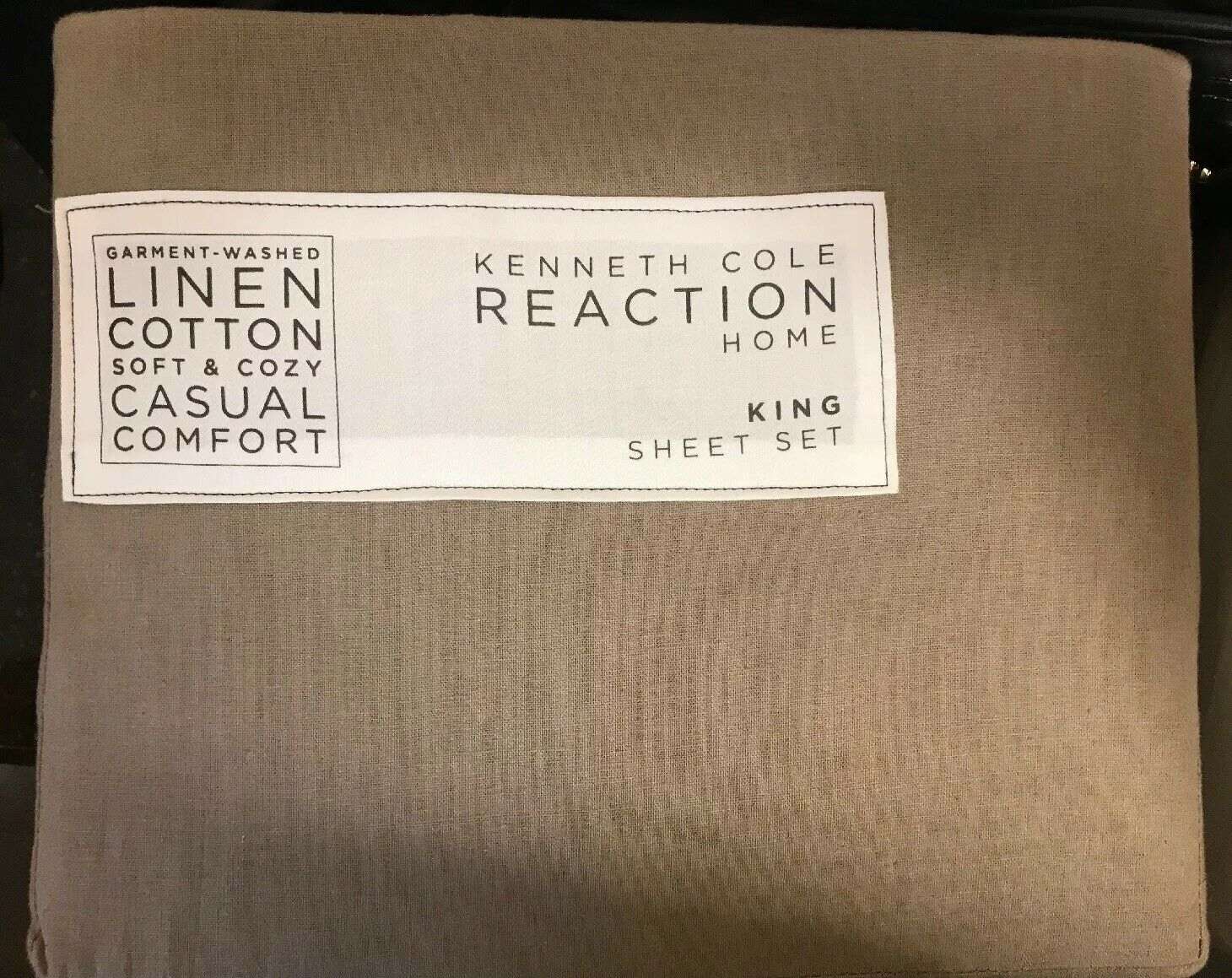 KENNETH COLE GARMENT WASHED LINEN AND COTTON KING Größe SHEETS Taupe