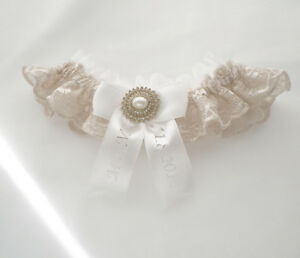 Vintage inspired ivory champagne nude lace wedding bridal personalized garter