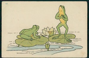 Details About Art Nouveau Frog Fantasy Love Romance On Waterlily Original Old 1900s Postcard