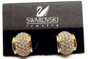 Vintage Swarovski Swan Gold Tone Hoop Crystal Rhinestone Pierced Earrings