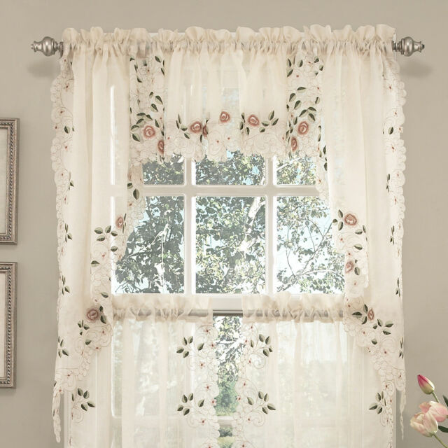 Buy Old World Style Floral Embroidered Semi Sheer Swag Curtain