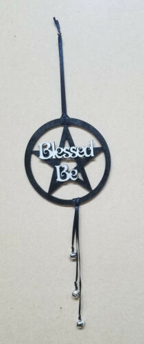 Blessed Be Pagan Wicca Wooden Decoration Witch bells Black Silver