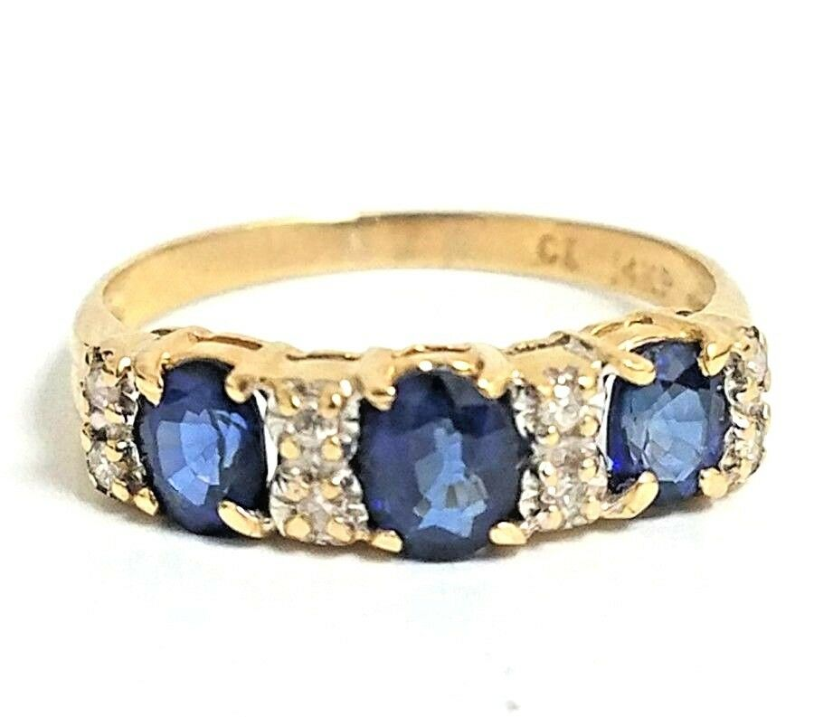 14 Karat Yellow gold 1.50 Carat 3 Stone bluee Sapphire and Diamond Ring  V21