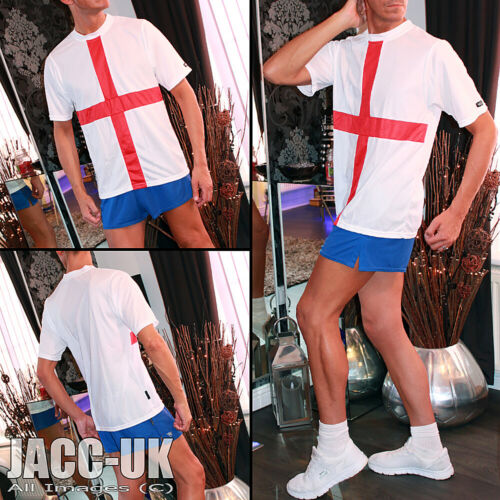 Red St George Flag Sports T Shirt Short Sleeved Top Run.689 NEW XL Mens White