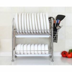 Dish Rack Stainless Steel Two Tier Draining Storage Rack with Chopstick Holder