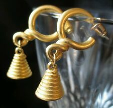 "Jingle #Bell Dangle #Earrings Gold Tone #Vintage 1¼"" Christmas #Fashion #jewelry"