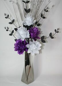 Artificial Silk Flower Arrangement Purple Black White Flowers In