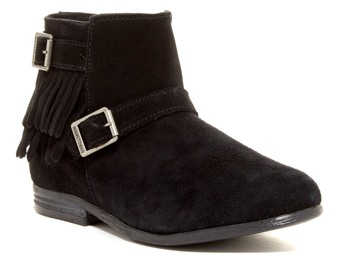 NEW MINNETONKA RANCHO BLACK ANKLE BOOTIES BOOTS SUEDE BOOTS WOMENS 6