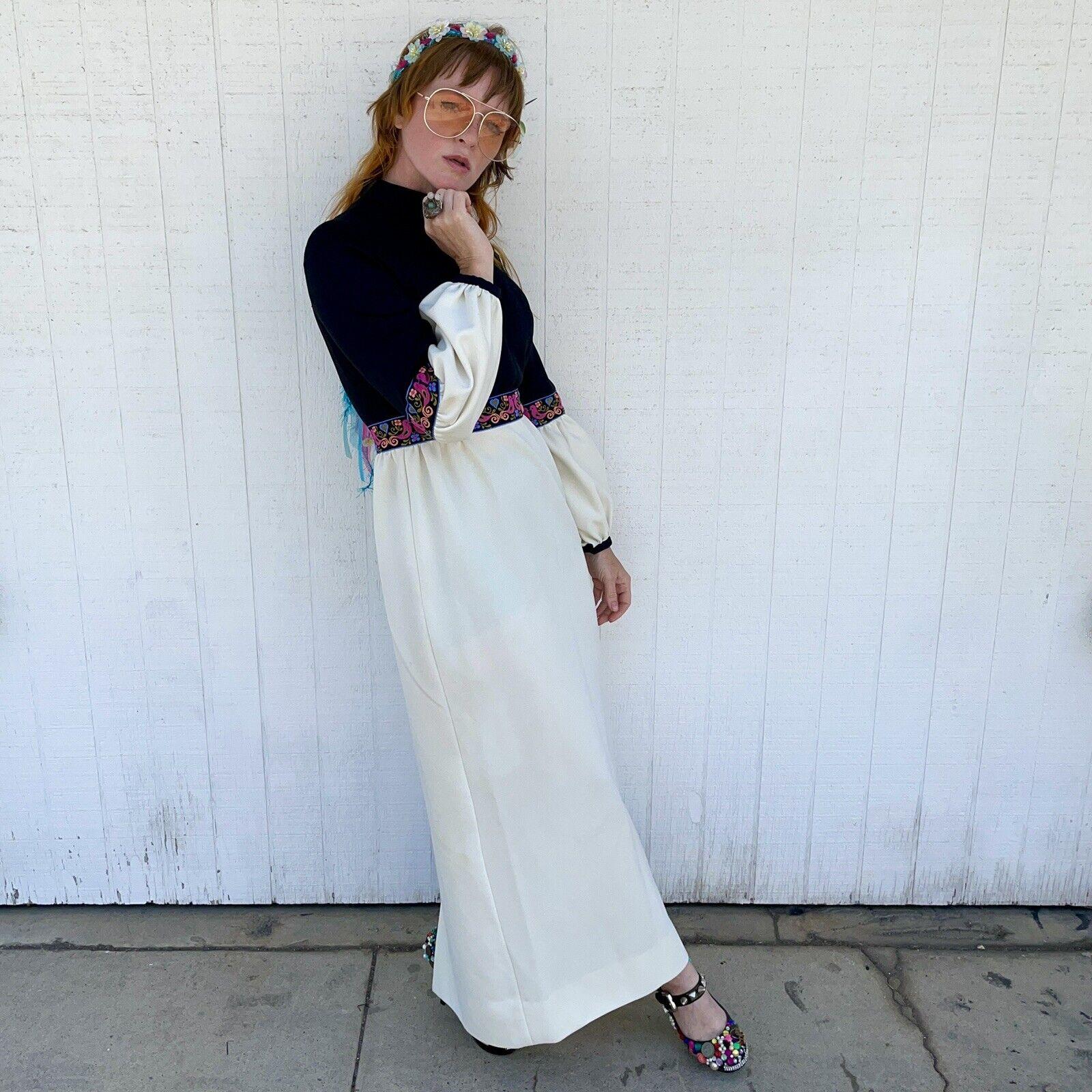 Vintage Fairycore Maxi Dress Hippie Clothes Puffy… - image 4