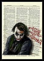 The Joker Heath Ledger Dictionary Art Poster Picture The Dark Knight Batman