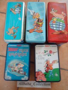 Lotto-5-Scatole-Zucchero-Torte-Asterix-Obelix-Fumetto-in-Ferro-Metallo-Scatola
