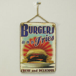 Schild Burger Werbung Retro Holz Vintage Holzschild Werbeschild