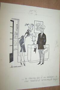 Badert Dessin Original Avec Pin-up Paru Dans Ici-paris Signé
