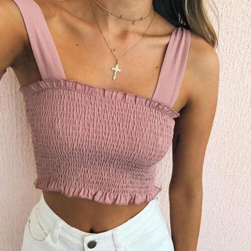 Women Frill Bandage Sleeveless Tee Shirred Shirts Cropped Tops Summer Beach Vest