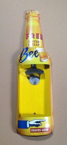 Blechschild 46x13cm Bier Flasche mit Öffner:Flaschenöffner Imbiss Pub Kneipe Bar