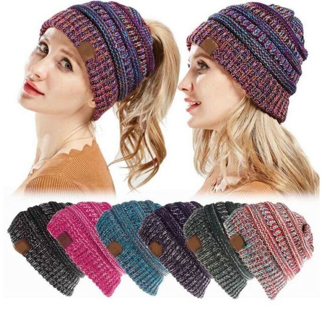 e91ca449a Women's Ponytail Beanie Ribbed Winter Messy Bun Cable Warm Soft Knit Hat AU