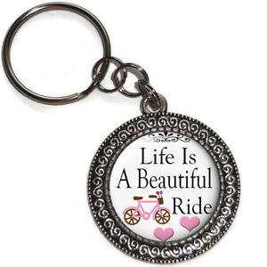 Key Ring Life Is A Beautiful Ride Inspirational Quote Purse Charm