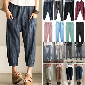 Women-039-s-Elastic-High-Waisted-Loose-Baggy-Linen-Harem-Pants-Trousers-Oversized