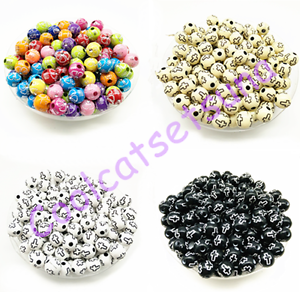 100-Pcs-8mm-Cross-Acrylic-Charm-Round-Spacer-Loose-Beads-Bracelet-Necklace