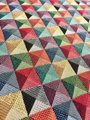 Losange Carrés Triangles Gobelin Tissu Matière Rideaux Tapisserie 140cm Large