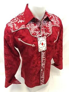 Mens-RODEO-WESTERN-COUNTRY-RED-PAISLEY-Long-Sleeve-Woven-SNAP-UP-Shirt-Cowboy-90